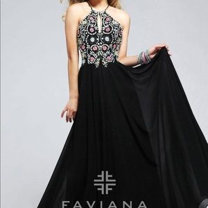 Black Beaded Faviana Prom Dress
